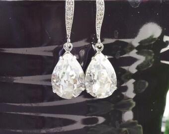 Clear Earrings - Swarovski Earrings Silver -  White Bridal Earrings - Bridesmaid Jewelry - Wedding Jewelry - Crystal Drop Earrings