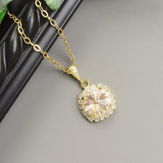 Swarovski necklace gold champagne necklace wedding jewelry for Jewelry for champagne wedding dress
