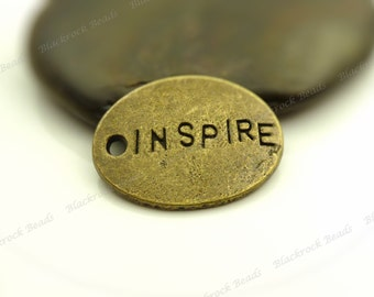 6 Inspire Message Charms Antique Bronze Tone Metal - 24x18mm - Tag Charms, Word Charms - BF24