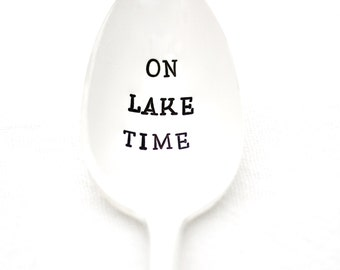 "Hand stamped ""On Lake Time"" spoon. Handstamped coffee spoon for Lake House decor. By Milk and Honey."