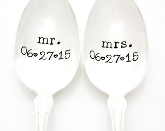 Custom Mr. and Mrs. Spoons with Wedding Anniversary Date. Hand stamped silverware. Unique engagement gift idea under 25. Anniversary Gift.