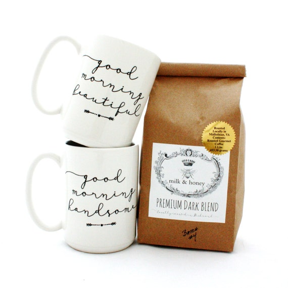 Engagement Gift Set. Ground Coffee and Mug Set. Good Morning Beautiful and Good Morning Handsome Mugs. Couples gift idea.