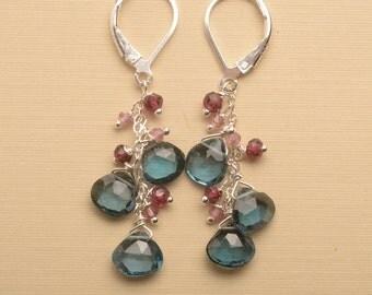 London Blue Topaz Earrings, December Birthstone, Blue Topaz Pink Gemstone Earring, Healing Gemstone Jewelry, Gemstone Dangle Earring