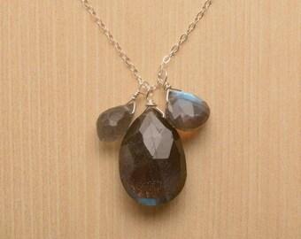 Labradorite Necklace, Labradorite Sterling Silver Necklace, Healing Gemstone Jewelry, Faceted Labradorite Necklace