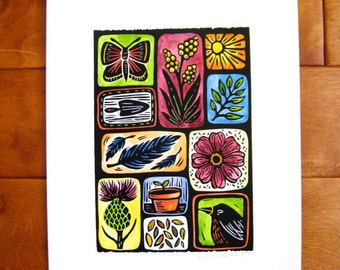 Original Nature Print (pink), open edition, hand pulled linocut, 5x7, hand-colored in watercolors