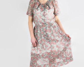 50s Plus Size, Mid Century Dress, Mad Men, Sheer Cotton, Korell Plus