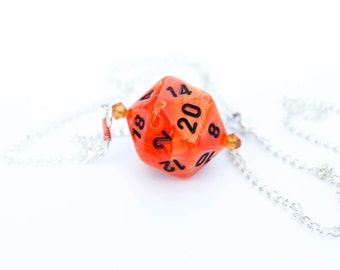 Orange Swirl D20 Necklace