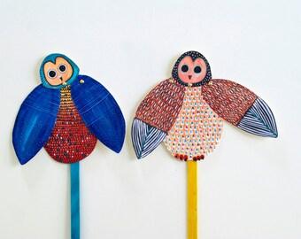 DIY Set of 2 Owl Articulated Dolls / Owl Puppet / DIGITAL DOWNLOAD