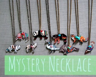 1 Mystery Necklace / Mystery Grab Bag Collection / Chevron Animal / Chevron Necklaces / Shrink Plastic Jewelry / BFF / Wearable Art