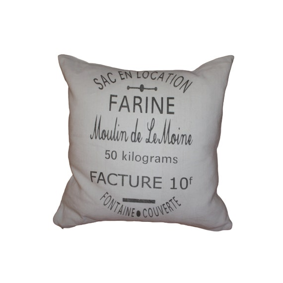 French Country  Vintage Linen Grain Sack Pillow - Flour SAC en LOCATION
