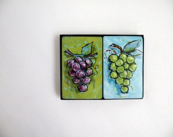 Boxed Pair of Playing Card Decks // Grapes Wine Mod 60s Game