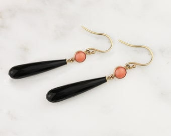 Coral and Onyx Solid 14k Gold Briolette Drop Dangle Earrings