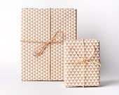 White on Kraft Triangle Wrap / Gift Wrap / 3 Sheets