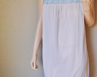 Vintage Turquoise Embroidered Chemise with Sheer Overlay - Large