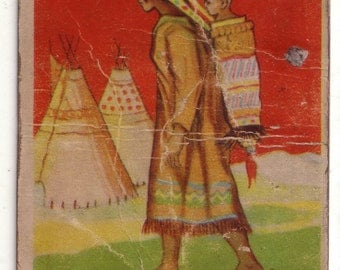 """Indian Chewing Gum Card 21 """"Squaw and Child"""" Goudey Gum Co. Boston USA"""