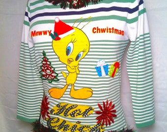 Mewwy Christmas Tweety Hot Chick Ugly Christmas Sweater Medium Christmas in July