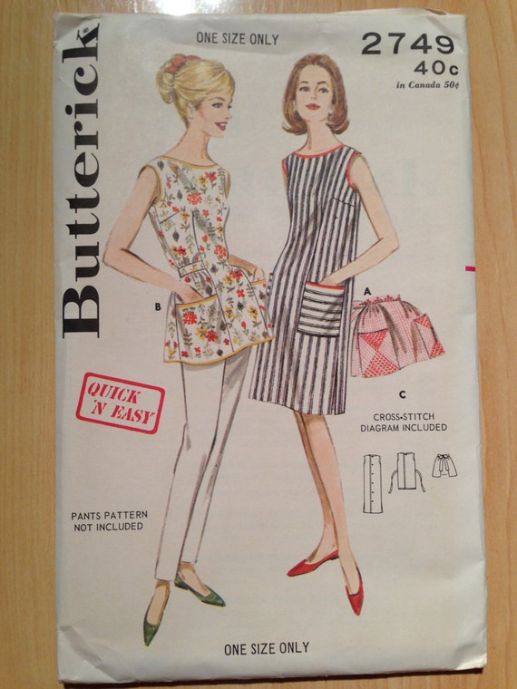 Butterick Sewing Pattern Misses Quick 'N Easy Apron 1950s UNCUT