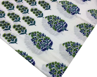 Indian fabric - cotton fabric - hand block print in green and blue - Spring Season Printed Cotton Fabric