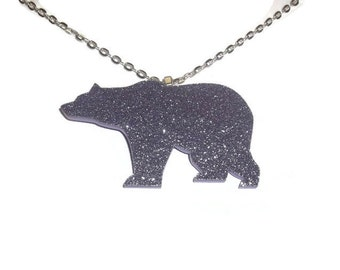 Bear Necklace, Cute Perspex Pastel Glitter Lilac Purple Laser Cut Animal, Quirky Kitsch Jewelry