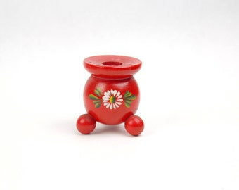 Vtg Swedish Red Wood Candle Holder