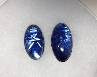 1950s Blue Glass Face Earrings Sterling MEXICO    Item: 16516