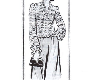 Design 7576 Retro Crochet Blouse Sewing Pattern Long Blouson Sleeve Shirt Loose Fit Crocheting Knit Instructions Lace Top