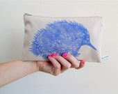 Echidna Purse -  Blue Australian Zipper Pouch