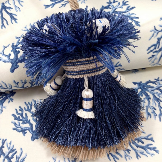 Large Tassels Home Decor: Blue Ivory And Tan Home Decor Tassel