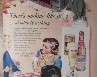 BUDWEISER BEER Couples Grilling Barbecue Charcoal Grill Picnic Original Vintage 1940s Beer Ad Ready To Frame Additional Ads Ship FREE