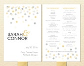 Confetti Printable Wedding Program Fan - DIY Ceremony Program Fan - Polka Dots, Gold, Silver
