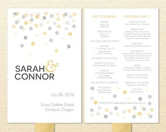 Confetti Printable Wedding Program Fan - DIY Ceremony Program Fan - Polka Dots, Gold, Silver