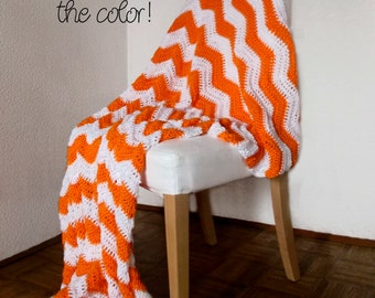 Personalized Chevron Throw Blanket Afghan Modern Crochet - Bright Neon Orange and White Striped Ripple Zig Zag - MTO - Many Colors Available