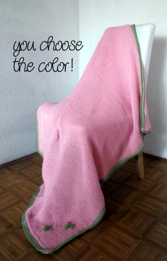 Personalized Crochet Afghan Modern Blanket Throw - Soft Pink with Pistachio Border/Flowers - Made To Order