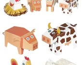 Farm Animals Paper Toys - DIY Paper Craft Kit - 3D Paper Animals - 4 Farm Animals