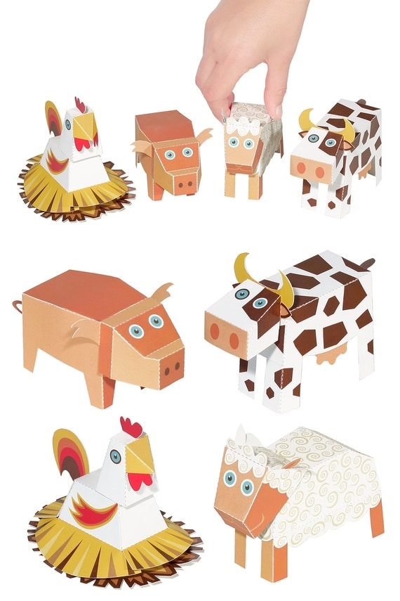 animaux de la ferme en papier jouets bricolage papier par pukaca. Black Bedroom Furniture Sets. Home Design Ideas