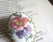 Vintage pink and purple floral oval scarf clip