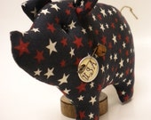 Star Spangled Pig Shelf Sitter, Patriotic Red White Blue Piggy Pillow Tuck, Whimsical Americana Decor