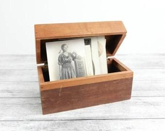 Vintage Wooden Card box, handmade w/ hinged lid