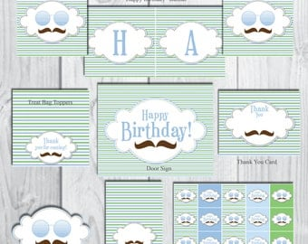 Brown Mustache Birthday Party Package-Boy Birthday Party Package-INSTANT DOWNLOAD