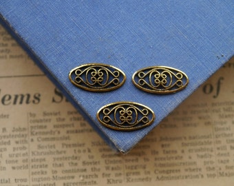CLEARANCE 12 pcs Antique Gold Intricate Scroll Connector Charms 25mm (GC2449)