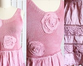 Hand Dyed Pink Tunic Upcycled Romantic Rosettes Top Recycled Crochet Summer Spring Clothing Size Medium
