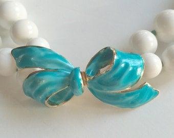 Wonderful Vendome Choker Necklace, White Double Strand Beads, Vendome Enamel Bow Clasp