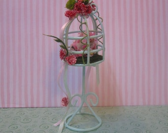 Price REDUCED! Miniature dollhouse shabby chic bird cage in mint green with ribbons, roses, greenery, and floral topiary on moss