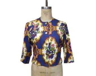 vintage 1960s BONWIT TELLER cropped jacket / floral needlepoint / novelty print / short crop top / women's vintage jacket / tag size 14
