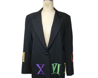vintage 1980s roman numeral jacket / black rainbow / novelty print jacket / Moschino style / women's vintage jacket / tag size small