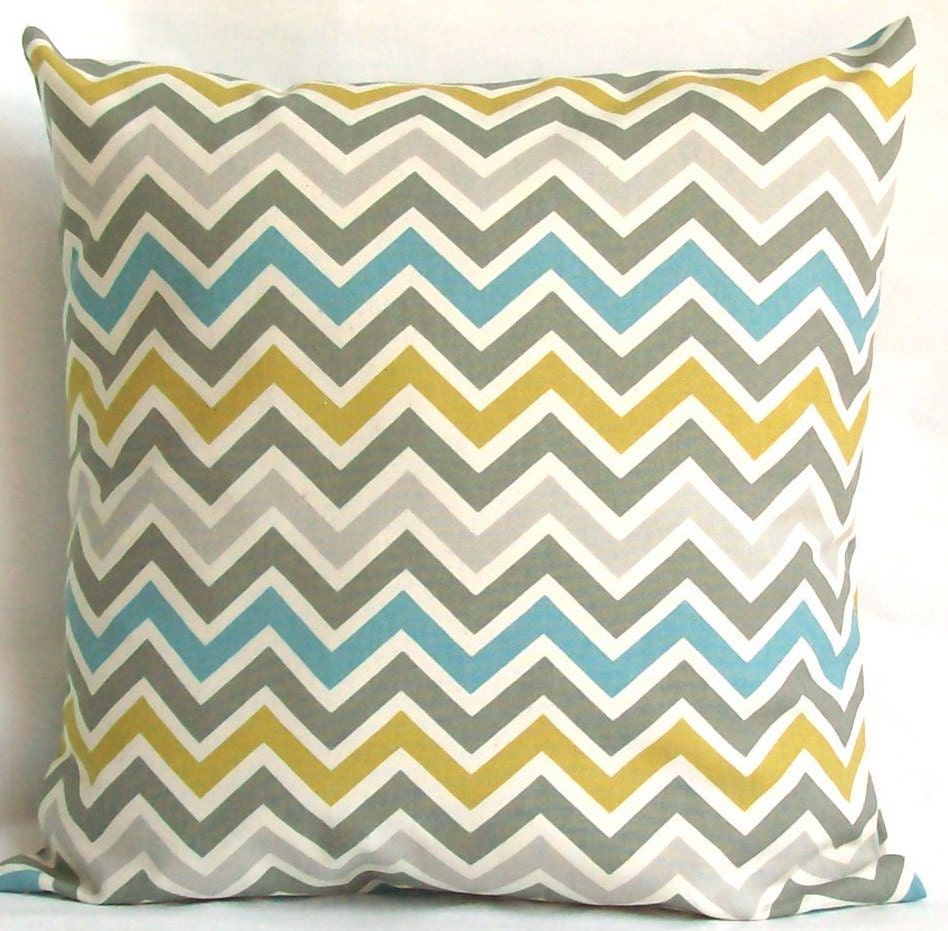 Blue Yellow Decorative Throw Pillow Cover by PureHomeAccents
