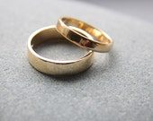 Wedding Ring Set: 18ct Yellow Gold Wedding Band Set, 3mm Womens Ring, 5mm Mens, Shiny Finish, Custom Made To Fit