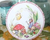 Country Mouse, Butterfly, and Toadstool Vintage Tin with Mushrooms, Ladybugs and Flowers - Perfect for a little girl!
