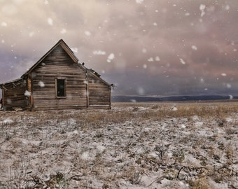 Landscape Photograph | Eastern Oregon | Winter Print | Abandoned House | Snow Photo | Rustic Decor