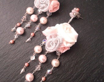 Pearl earrings, roses flowers, wedding earrings bridal textil jewelry